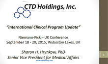 CTD Holdings Niemann-Pick – UK Conference > Sept 18-20 2015