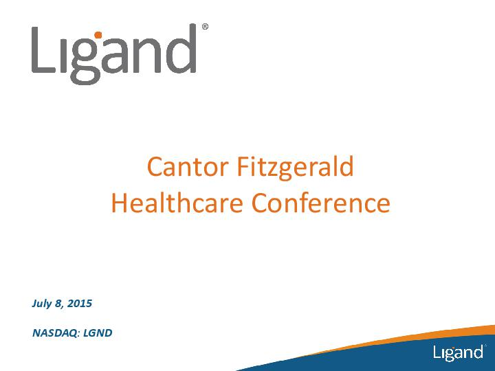 Cantor Fitzgerald Healthcare Conference